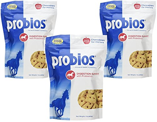 (3 Pack) Probios Probiotic Treats for Horses, Apple Flavor, 1 Pound each