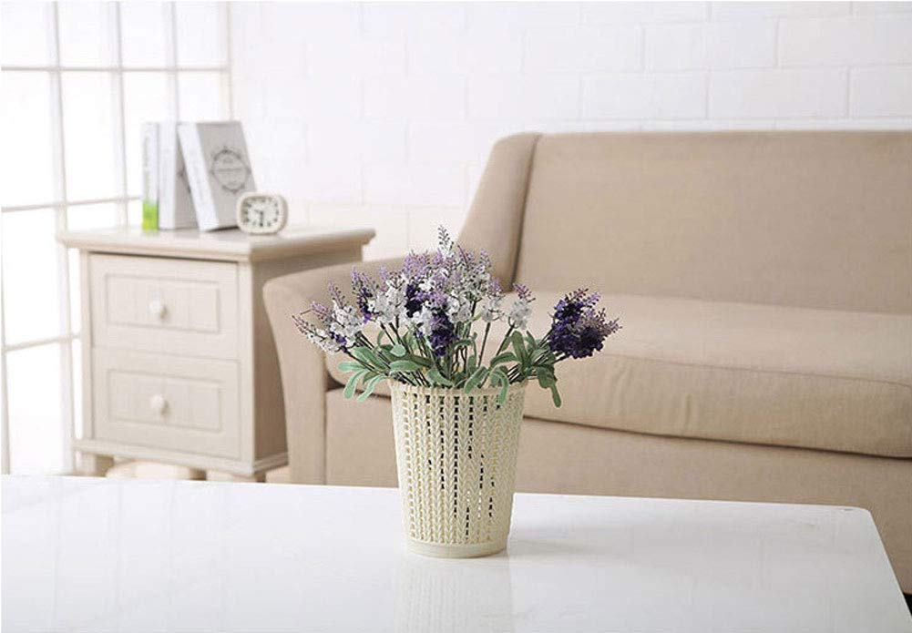 Gray, S Meetuuk Imitation rattan hollowed out paper basket Plastic Waste Paper Basket Household Trash Can Bathroom Trash Can