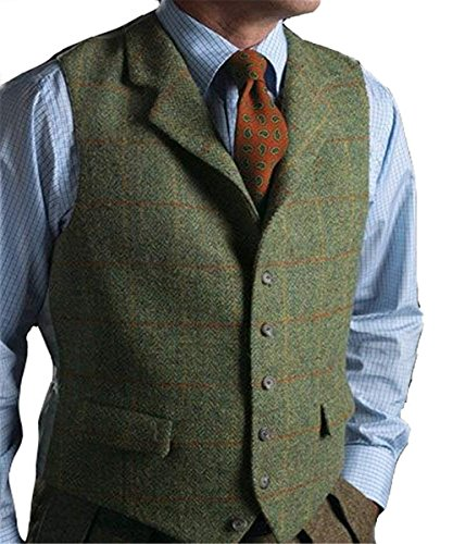 - Men's Wool Herringbone Groom Vests Groom's Suit Vest/Tweed Notched/V Neck Lapel Business Plaid Suit Vest Waistcoat (L,Green)
