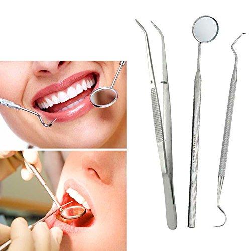 3PCS/1 Set Stainless Steel Dental Instruments Mouth Mirror Explorer - 1