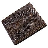 Itslife Men's Genuine Cowhide Alligator Head Crocodile Gator Horizontal Wallet