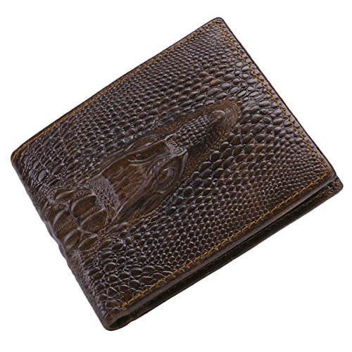 e Cowhide Alligator Head Crocodile Gator Horizontal Wallet (Genuine Alligator)