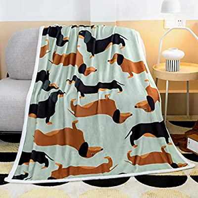 Famitile Dachshund Kids Sherpa Fleece Blanket Bedding Super Soft Plush Throw Comfort Warm Cartoon Puppy Cute Dog Blanket for Children Boys or Adult Couch Bed Chair Office Sofa (47