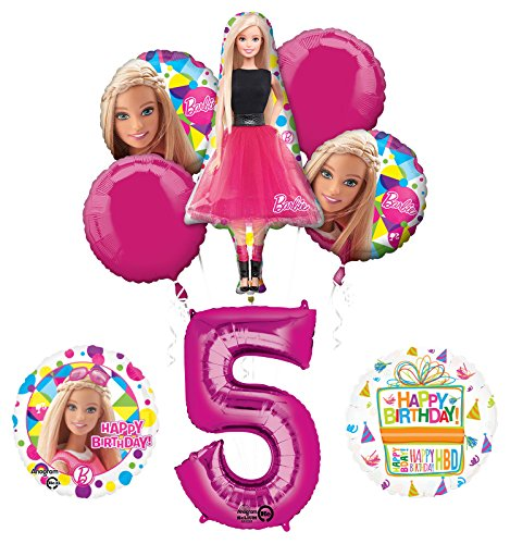 Mayflower Products Barbie 5th Birthday Party Supplies and Balloon Bouquet -