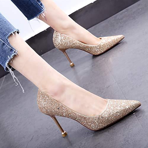HOESCZS Einzelne Schuhe 19 Neue Frühlingsmode zeigte Kristall Gold Pailletten flachen Mund Stiletto Gold Kristall Brautjungfer Schuhe Damenschuhe dbbac5