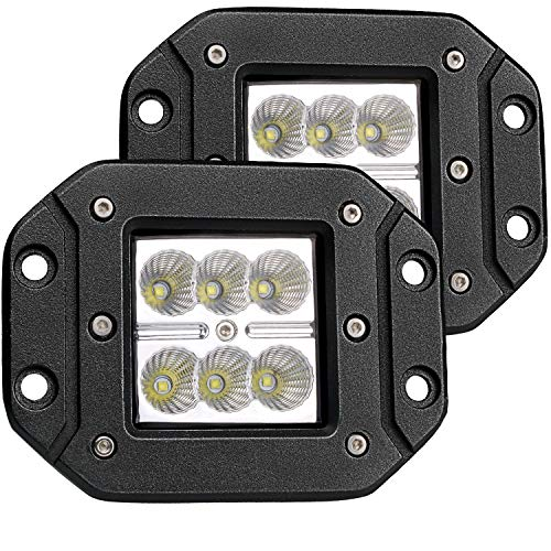 (Turbo 2pcs Flood 3x3 Dually Flush Mount Led Light Lamps Dually D2 Off Road Back Up Reverse lights for 4x4 4wd Jeep Truck F150 F250 F350 Toyota Tacoma Honda Dodge Ram Chevy Silverado Front /Rear Bumper)