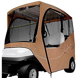 Classic Accessories Fairway Golf Cart Travel Enclosure, Khaki, Short Roof