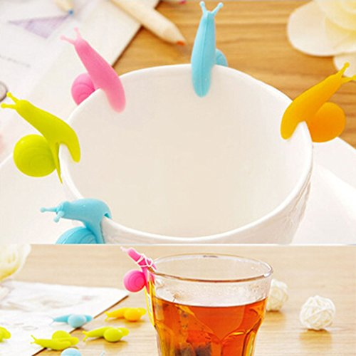 VANKER 5Pcs Random Color Silicone Snail Shape Design Tea Bag Holder Gift Set Cup Mug by Vanker (Image #1)