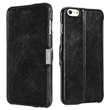 iPhone 6s Plus / iPhone 6 Plus Case, Benuo [Classic Retro Series] [Genuine Leather] Flip Case with 1 Card Slot & Stand Function, Handmade Slim Fit Soft Leather Case with Magnetic Closure for iPhone 6 Plus (2014) / 6s Plus (2015) - (Retro Black)