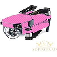 SopiGuard Pink Carbon Fiber Precision Edge-to-Edge Coverage Vinyl Skin Controller Battery Wrap for DJI Mavic Pro