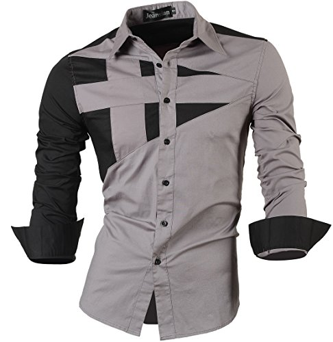 jeansian Men's Casual Long Sleeves Button Down Dress Shirts 8397