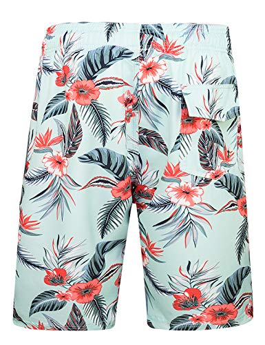 Mens Swim Trunks with Pockets Beach Swimwear Quick Dry Long Elastic Waistband Board Shorts Bathing Suits Holiday