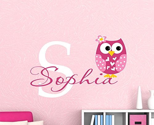 Owl Decor Personalized - Owl Name Wall Decal - Passions Name Vinyl Decal - SF - made in the USA