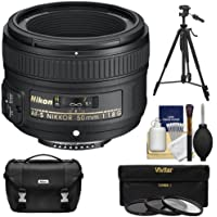 Nikon 50mm f/1.8 G AF-S Nikkor Lens with Nikon Case + 3 Filters + Tripod Kit for D3200, D3300, D5300, D5500, D7100, D7200, D750, D810 Cameras