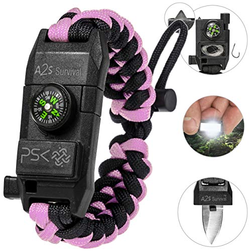 PSK Paracord Bracelet 8-in-1 Personal Survival Kit Urban & Outdoors w/ Survival Knife, Fire Starter, Glass Breaker, Survival Whistle, Signal Mirror, Fishing Hook & String, Compass (Pink) (Best Survival Knife Kit)