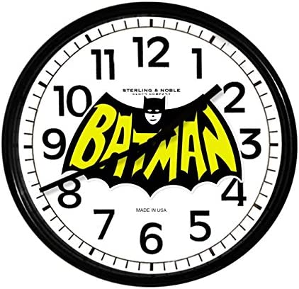 New Black Finish Round Wall Hanging Clock Featuring Batman Retro Themed Logo