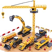 iPlay, iLearn Construction Site Vehicles Toy Set, Kids Engineering Playset, Tractor, Digger, Crane, Dump Trucks,...