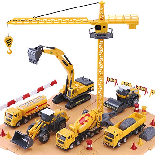 (iPlay, iLearn Construction Site Vehicles Toy Set, Engineering Playset, Tractor, Digger, Crane, Dump Trucks, Excavator, Cement, Steamroller for 3, 4, 5 Year Old Toddlers, Boys, Girls, Kids & Children)