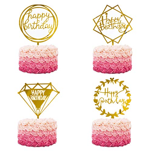 Happy Birthday Cake Topper Acrylic Cupcake Topper, A Series of Birthday Cake Supplies Decorations