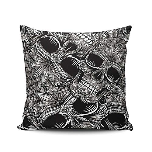 AIHUAW Home Decorative Cushion Covers Throw Pillow Case Black and White Skull Square 16x16 Inches Double Sided Printed (Set of 1)