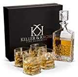 Premium Whiskey Decanter and Glass Set, 5 Piece - Handsome Decanters with Rocks Glasses for Scotch, Bourbon, Spirits - Lead-Free, Balanced Whiskey Serving Carafe and Tumbler Giftbox
