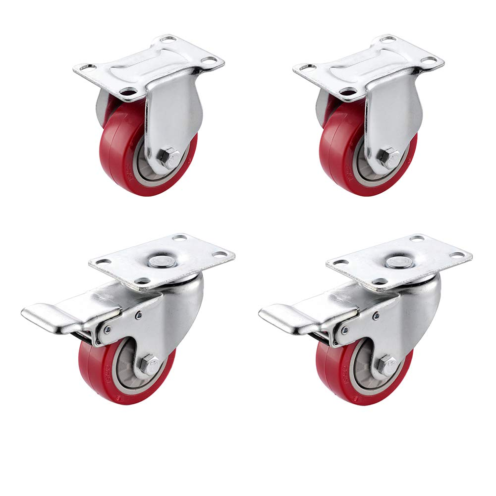 """SungMi 4 Pack 3"""" Heavy Duty Caster Wheels PVC Top Plate Casters Red Wheels (2 Fixed & 2 Swivel with Brakes) SM-AMS-240002"""
