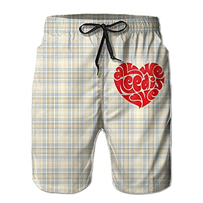 Funny Sunshine Boys Men's All We Need Is Love Summer Quick-drying Board Shorts Pants
