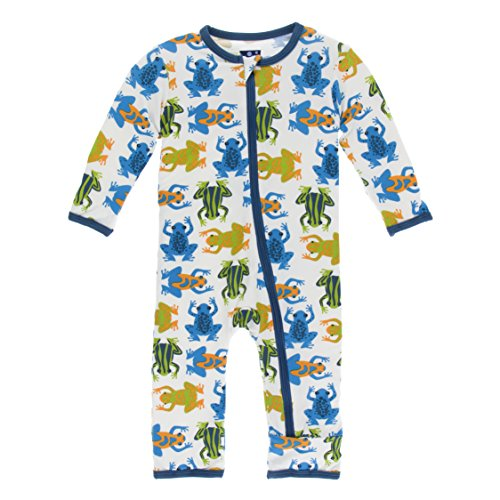 Kickee Pants Print Coverall with Zipper in Amazon Frogs, 0-3 Months