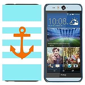 TECHCASE---Cubierta de la caja de protección para la piel dura ** HTC Desire Eye ( M910x ) ** --Rayas Líneas Golden Anchor Marrón