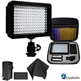 Limo160 Led Lamp Panel Dimmable For Dslr Camera Dv Camcorder With Hard Carry Case & Black Superfiber Lens Cleaning Cloth