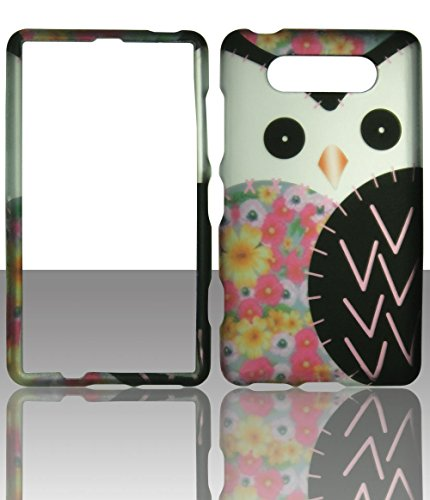 2D White Owl Nokia Lumia 820 AT&T Case Cover Hard Phone Case Snap-on Cover Rubberized Touch Protector Faceplates