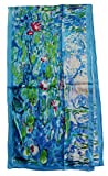 Van Gogh and Claude Monets Paintings, Fashion Silk Scarf Premium Shawl Wrap Art (Claude Monet's Water Lilies)