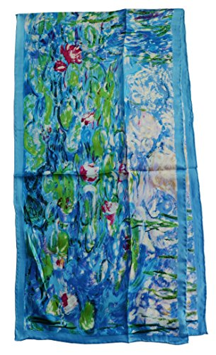 Silk Winter Neck Scarf - Van Gogh and Claude Monets Paintings, Fashion Silk Scarf Premium Shawl Wrap Art (Claude Monet's Water Lilies)