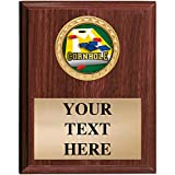 5x7 Walnut Finish Cornhole Plaques - Customized Cornhole Plaque Awards Prime