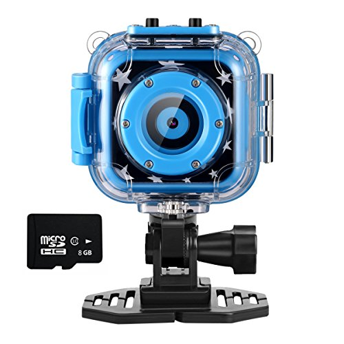 Ourlife kids Waterproof Camera with Video Recorder includes 8GB memory card (Blue) (Underwater Video Recorder)