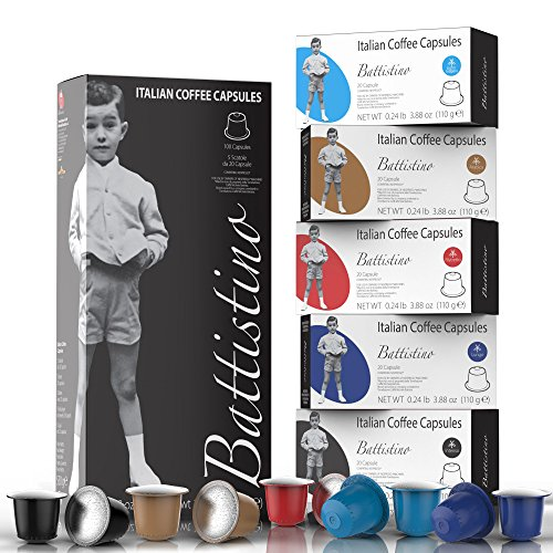 Nespresso Compatible Coffee Capsules - 100 Pack - Single Serve Pods for Original Line - 5 Flavors and Strength Variety Pack - By Battistino (Original Packs 5)