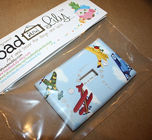 Airplanes Kids Bedroom Baby Nursery Single Light Switch Cover LS0002 (Single Standard) Toad and Lily LS0002a