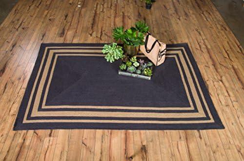 IHF Home Decor Grayson Braided Rug 6' x 9' Rectangle Accent Floor Carpet Natural Jute Material Doormat | Dark Grey