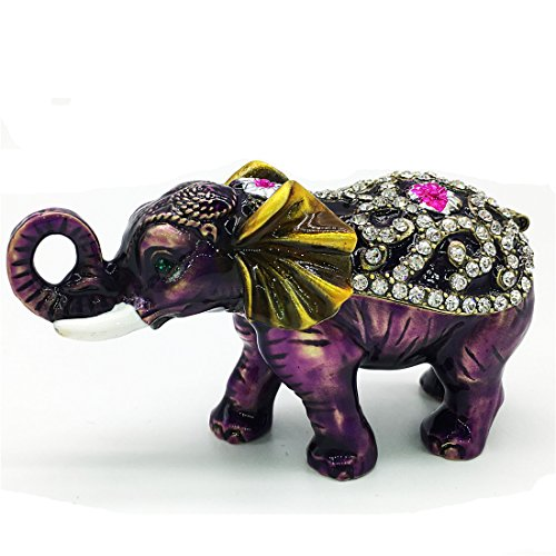 Elephant Crystal Jewelry - Waltz&F Purple elephant Hinged Trinket Box Bejeweled Hand-painted Ring Holder Animal Figurine Collectible