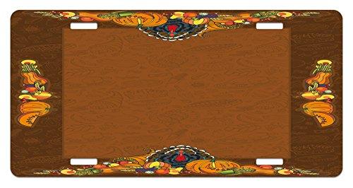 Thanksgiving License Plate by Ambesonne, Basket Harvest Pumpkin Turkey Apple Pie Fruit Vegetables Desert Dinner, High Gloss Aluminum Novelty Plate, 5.88 L X 11.88 W Inches, Cinnamon Marigold