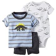 Carter's Baby Boys' 3-Piece Bodysuit & Shorts Set (3 Months, Blue/Dino)
