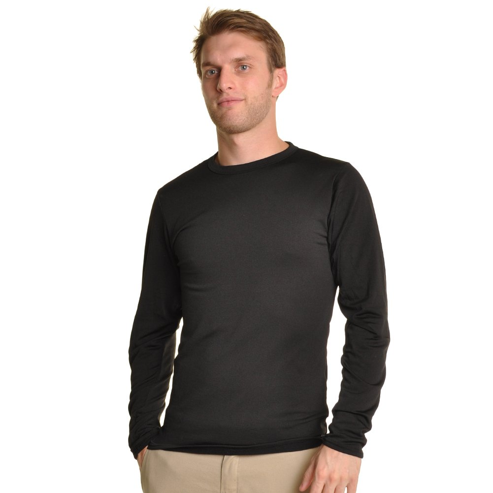 Swan Mens Fleece-Lined Crew Neck Long Sleeve Thermal Tops