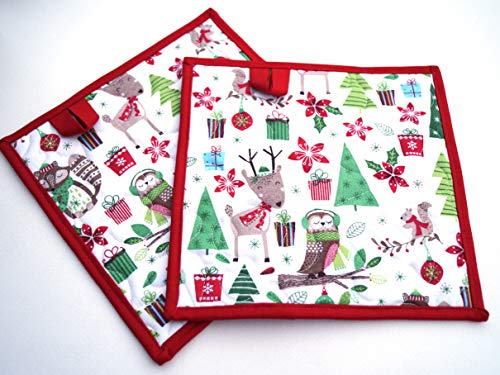 Christmas Fabric Quilted Pot Holders Set with Woodland Animals