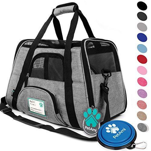 - PetAmi Premium Airline Approved Soft-Sided Pet Travel Carrier | Ventilated, Comfortable Design with Safety Features | Ideal for Small to Medium Sized Cats, Dogs, and Pets (Small, Heather Gray)