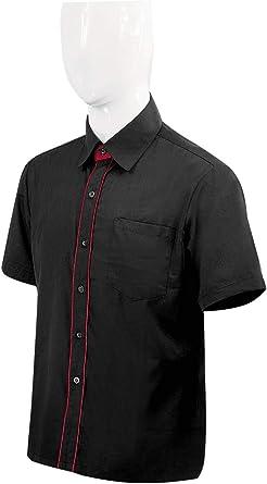 MISEMIYA - Camisa Trabajo Uniforme Camarero Caballero con Mangas Cortas MESERO DEPENDIENTE Barman COCTELERO - Ref.XGN032 - XL, Negro-Burdeos: Amazon.es: Ropa y accesorios