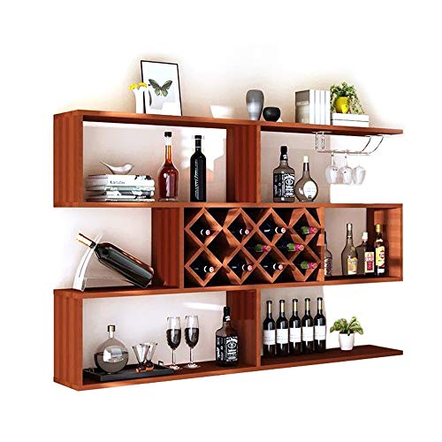 YANGMAN Wall Mount Wine Rack, Three Floors Wine Cooler Wall-Mounted Lattice Shelf Cup Holder Simple Restaurant Living Room Wine Shelf (160X23x98 cm,11 ()