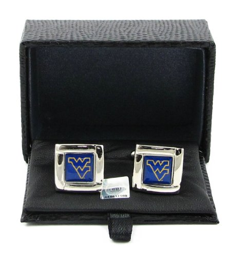 NCAA West Virginia Mountaineers Square Cufflinks with Square Shape Engraved Logo Design Gift Box - Square Logo Shape