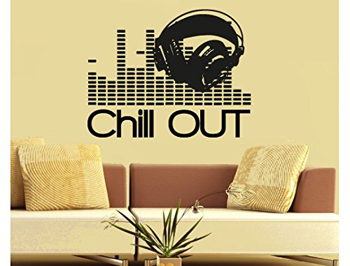 House Equalizer Music (Wall Decal Vinyl Sticker Decals Art Decor Design Sign Chill out Headphones equalizer Music Electro house Living room Bedroom Dorm(r748))