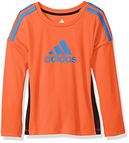 - adidas Little Boys' Performance Logo Long Sleeve Tee Shirt, Solar Red, 5