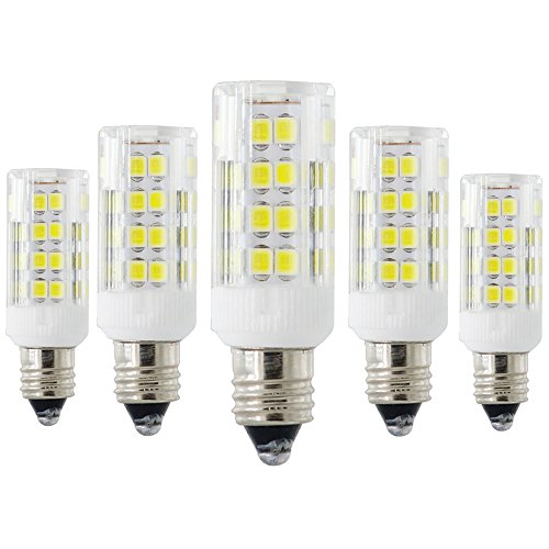 E11 Candelabra Base Bulbs, Dimmable Mini E11 LED Bulb, Super bright T4 JD 120V 4.5W White 50W Equivalent Halogen Replacement Bulb, for Ceiling Fan Indoor Decorative Lighting (Pack of 5) ()